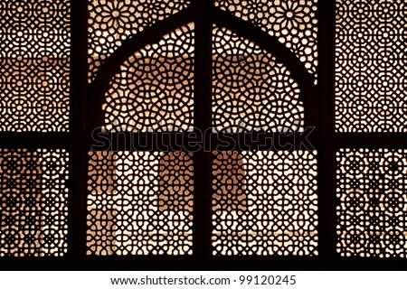 Marble tomb of shaikh Salim Chishti, completed in 1581. Marble lattice of the tomb. Fatehpur Sikri, India - stock photo