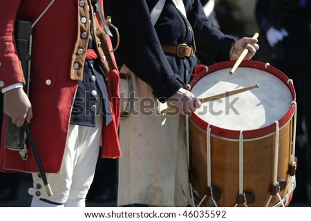 Marblehead General Glover's Minute Man Regiment marches in a parade. - stock photo
