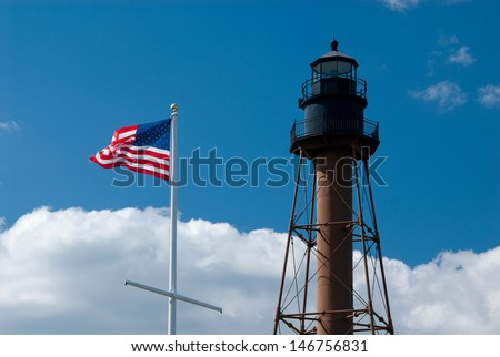 Marblehead Light is located inside Chandler Hovey Park, or Lighthouse Point, at the northern end of Marblehead Neck in Massachusetts. - stock photo