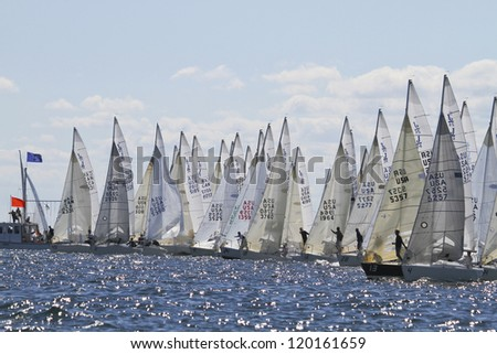 MARBLEHEAD, MA - SEPTEMBER 17: Start of J/24 North American Championship in Marblehead, MA on September 17, 2012. - stock photo