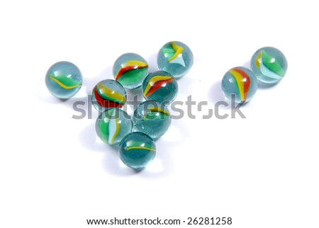 Marbles isolated on white background - stock photo