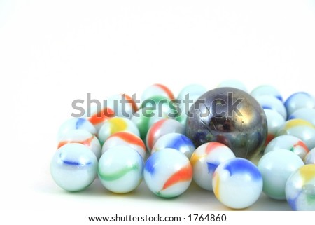 Marbles on a white background