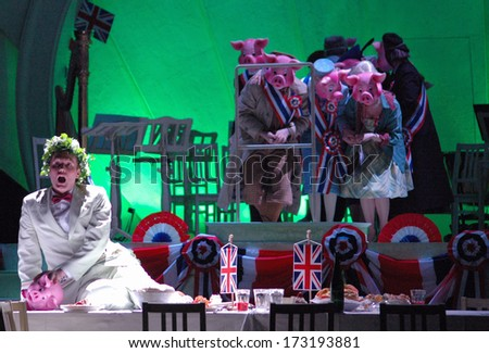 "MARCH 6, 2005 - BERLIN: Finnur Bjarnason and others in the opera play ""Albert Herring"", Komische Oper Berlin, Berlin-Mitte."