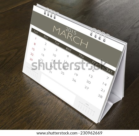 March Calendar 2015  on wood table - stock photo