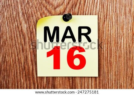 March 16 Calendar. Part of a set - stock photo
