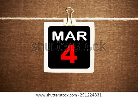 March 4 Calendar. Part of a set - stock photo