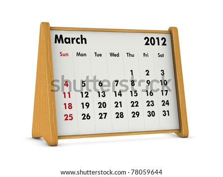 march 2012 elegant wooden calendar on white background (3d render)