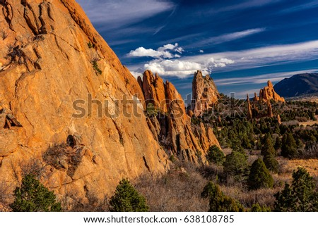 MARCH 8, 2017 GARDEN OF THE GODS, COLOARDO SPRINGS, CO, USA - a National Natural Landmark features Sedimentary rock formation
