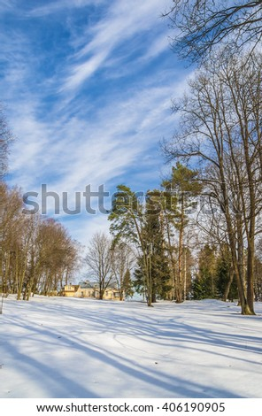 "March in Russia. Park of memorial estate ""Manor Muranovo"" of the name of F. I. Tyutchev. Moscow region, Russia. - stock photo"
