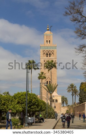 March 20 2015.Koutoubia Mosque, Marakesh, Morocco, Africa, the main mosque and principle tourist attraction in central Marakesh