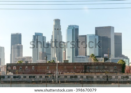 March 30, 2016 Los Angeles CA The worn out structures of an older urban Los Angeles gives way to the new skyscrapers of downtown Los Angeles.