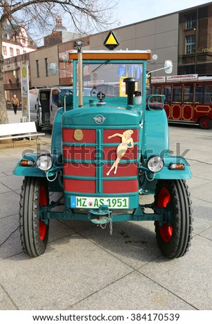 MARCH 28-MAINZ,GERMANY:German made Clean and shiny Old  Hanomag Tractor on Display.March 28,2015 in Mainz,Germany.