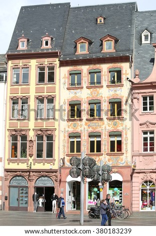 MARCH 30-MAINZ,GERMANY: the Old Historic buildings  at the Market place.March 30,2015 in Mainz,Germany.