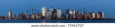 March 2011. Manhattan, lower New York financial offices(downtown) over Hudson river panorama from Jersey city. One World Trade Center building under construction - stock photo
