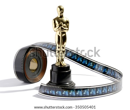 March 4, 2015  - Milan, Lombardy, Italy : Replica golden Oscar statue on a black plinth standing on a white background with a roll of movie film - stock photo