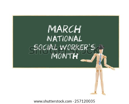 March National Social Workers Month green chalkboard isolated on white background - stock photo