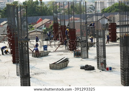 MARCH 5, 2016 : NONTHABURI - THAILAND : Under-construction of concrete building for car parking at Electricity generating authority of Thailand, Nonthaburi