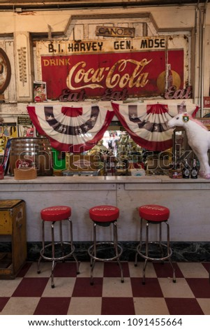 MARCH 6, 2018 - Old fashioned Soda Fountain, Jefferson General Store - Texas Americana, Jefferson, Texas
