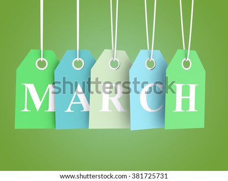 March sales - colored labels on green background - stock photo