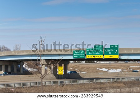 March 24. 2014. Sign. Exit to Chrysler Headquarters and Technology Center in Auburn Hills, Michigan. USA. - stock photo