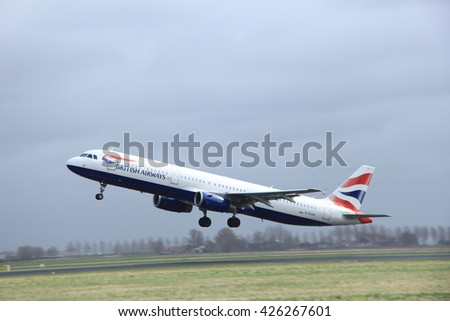 March, 27th 2015, Amsterdam Schiphol Airport G-EUXK British Airways Airbus A321-231  Polderbaan Runway - stock photo