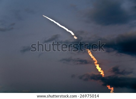 March 15th 2009 launch of Discovery shuttle mission STS-119 captured at booster separation - stock photo