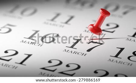 March 17 written on a calendar to remind you an important appointment.
