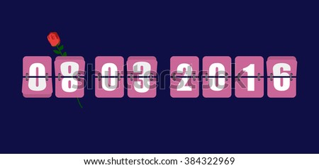 March 8, 2016 year. Toggle meter time. Mechanical timer countdown for holiday. International womens day. Countdown timer for holiday  - stock photo