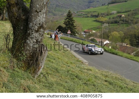 MARCHAMPT, FRANCE, April 20, 2016 : Tour Auto rally. The Tour de France Automobile was revived in 1992 for historic cars with both a competition and a regularity class. - stock photo