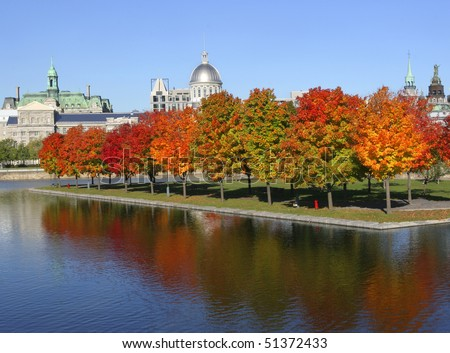 Marche Bonsecours, City Hall of Montreal in autumn, Canada - stock photo
