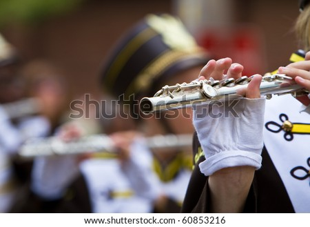 Marching band flute section - stock photo