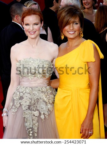 Marcia Cross and Mariska Hargitay at the 60th Primetime EMMY Awards held at the Nokia Theater in Los Angeles, California, United States on September 21, 2008.  - stock photo