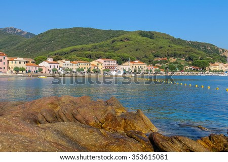 Marciana Marina, Italy - July 02, 2015: The coast of the Tyrrhenian Sea. Marciana Marina is  one of the most important towns of Elba Island in region of Tuscany, Italy