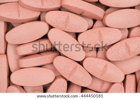 Marco or Close Up Orange Medication,Pills,Drug,Medicine,Vitamins from Above or Top View - stock photo