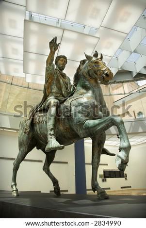 Marcus Aurelius on horse statue in Capitoline Museum, Rome, Italy. - stock photo