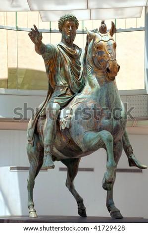 marcus aurelius statue - stock photo