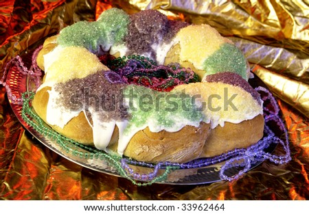 Mardi Gras King Cake - stock photo