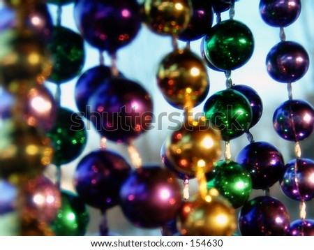 Mardis Gras Beads - stock photo