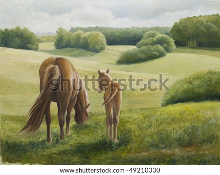 Mare and foal study painted in oil on canvas. I, the Artist, owns the copyright. - stock photo