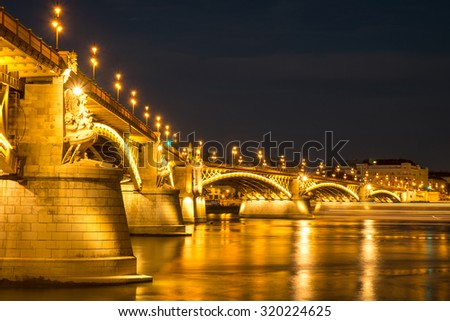 Margaret bridge at dusk in Budapest - Hungary - stock photo