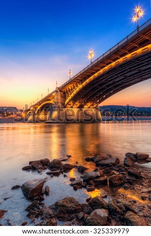 Margaret bridge at dusk in Budapest - Hungary