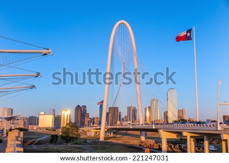 Margaret Hunt Hill Bridge and Dallas City skyline, Texas - stock photo