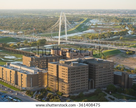 Margaret Hunt Hill Bridge is a bridge in Dallas, Texas which spans the Trinity River. - stock photo