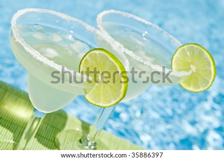 Margarita Cocktail by the Pool - stock photo