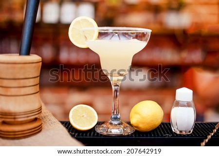 margarita cocktail drink closeup served cold in bar and casino - stock photo