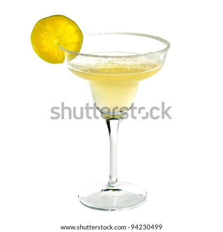 Margarita cocktail drink with lime isolated on white background - stock photo