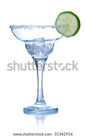 Margarita cocktail glass isolated on white. Soft reflection. - stock photo