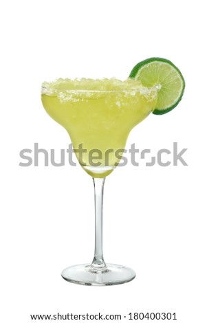 Margarita drink with lime slice cutout, isolated on white background - stock photo