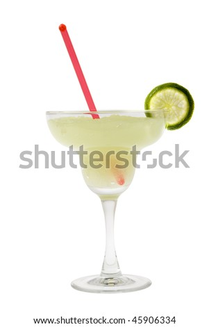Margarita mixed drink with lime slice garnish on white backgound - stock photo