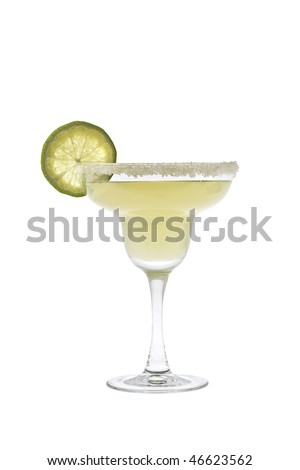 Margarita mixed drink with salted rim and lime slice garnish on a white background